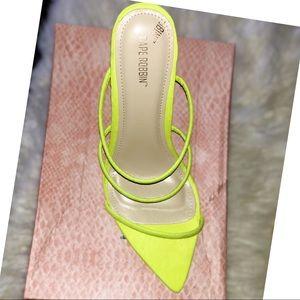 Lime strap sandal heels